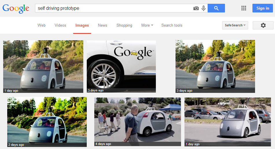 """View the image. Results of search for """"Self driving prototype"""" as accessed on June 11, 2014. Google and the Google logo are registered trademarks of Google Inc., used with permission."""